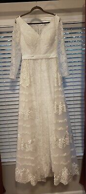 NWT Bridess Ivory Vintage Lace Wedding Dress Gown Size 12