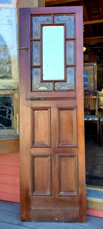 SMALL VICTORIAN ERA DOOR W STAINED GLASS AND BEVELED MIRROR 22w