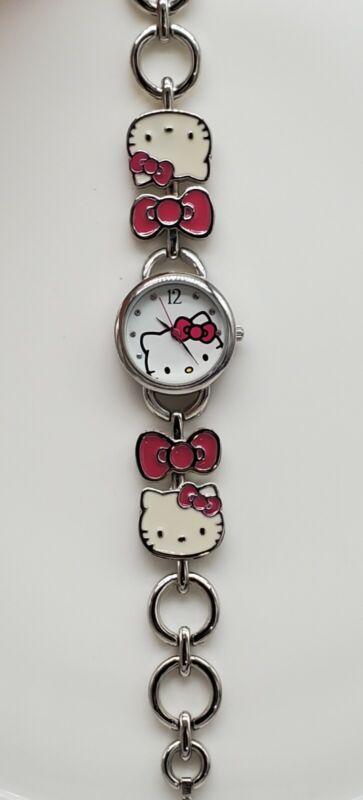 ACCUTIME Sanrio Hello Kitty Watch w/ Silver Tone & Enamel Bracelet NEEDS BATTERY