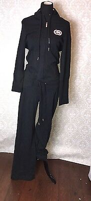 Vtg ECKORed One Piece JumpSuit Bodysuit Romper Zipper Hoodie Retro Playsuit L