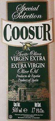 ETIQUETA NUEVA ACEITE DE OLIVA ESPECIAL SELECCIÓN 500 ML EXTRA VIRGIN COOSUR.