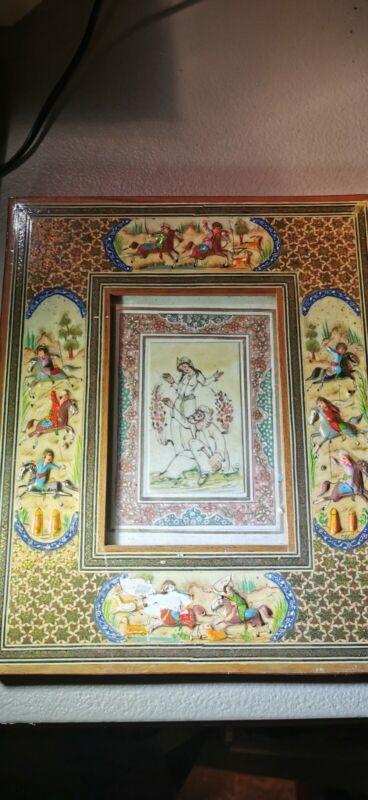 Vtg Persian Islamic Art Painting Khatam Framed Distressed