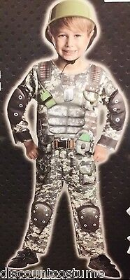 Us Army Costumes (US ARMY HERO JUMPSUIT W/ MUSCLE & HELMET BOYS SIZE LARGE HALLOWEEN)