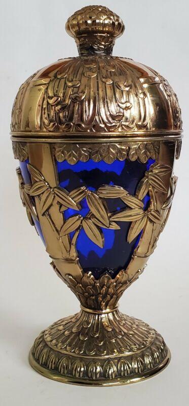 Vintage Japan Handmade Silver Caged Cobalt Glass Jar Urn Canister Vase & Lid