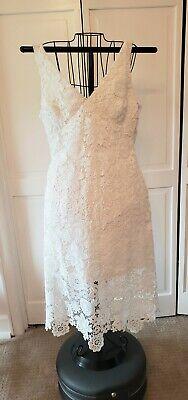LAUREN RALPH LAUREN Lined Bridal White Lace Midi Dress, 14