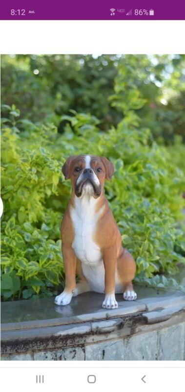 Hi-Line Boxer Dog Sitting Large Life Like Figurine Statue Home / Garden NEW