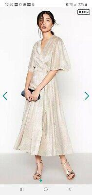 No. 1 jenny packham-light gold 'ultimate sparkle' wrap midi dress size 22