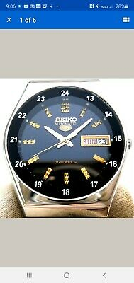 Vintage Japan Seiko 5 Automatic 24Hour Railway Time Classic Day Date Mens Watch.