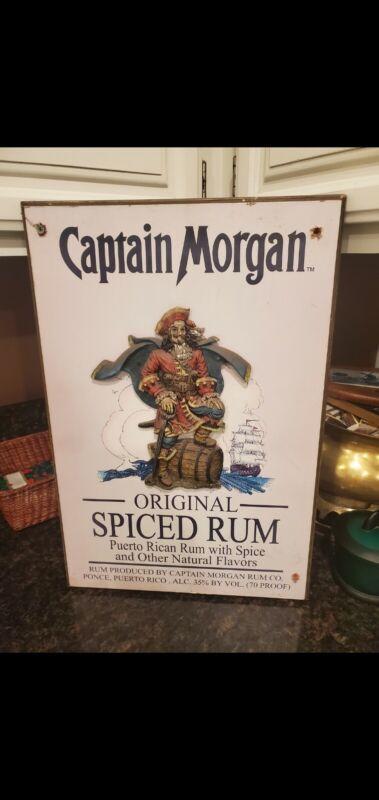 Captain Morgan Original Spiced Rum 3D Wood Bar Pub Sign Vintage Rare 13X20