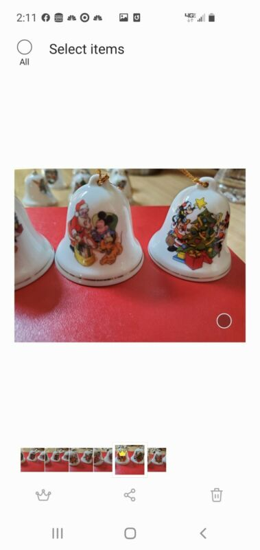 """Set of 11 Grolier Disney Characters Christmas Bell Ornaments 2"""" Porcelain"""