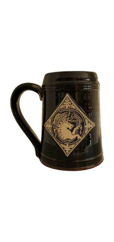16th Annual Minnesota Renaissance Pottery Stein Mug Deneen 1986 Signed Black Cup