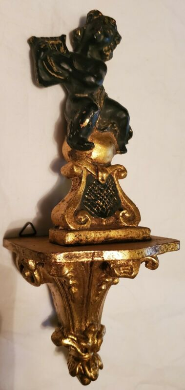 Antique Tole Figural Rococo Cherub Gilt Gold Carved Wooden Shelf Sconce Italy