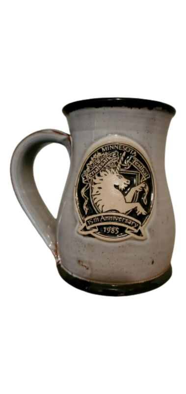 15th Annual Minnesota Renaissance Pottery Stein Mug Deneen 1985 Signed Grey Cup