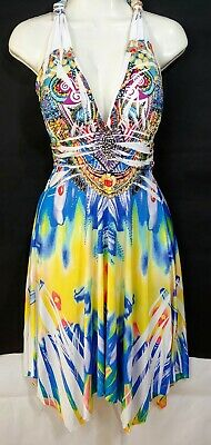 Crimson Ivy Womens Size Small T Back Halter Dress Multicolor Embellished NEW/NWT