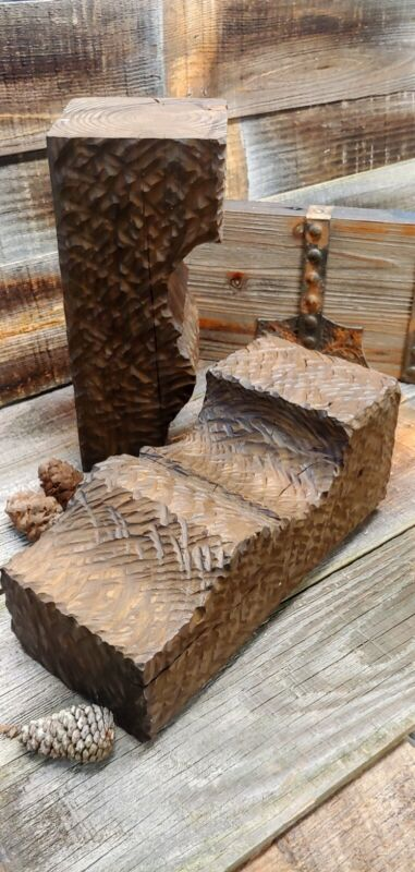 """2   Rustic carved lodge fireplace Mantle CORBELS cabin Decor 12"""" TALL X 5 1/2""""W"""