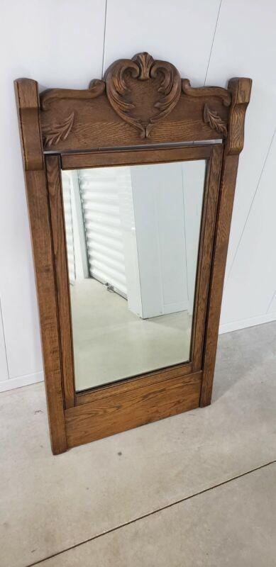 "Antique Mirror wood frame oak scroll 48 x 26"" Estate"