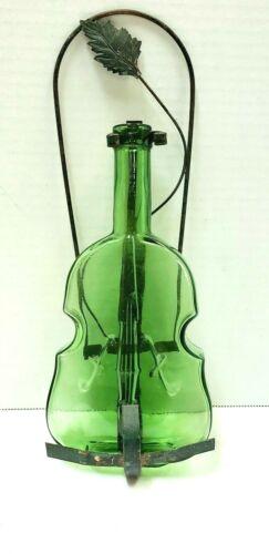 Glass Violin Bottle w/Handmade Hanger Light Green 40