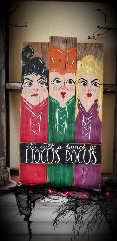 Disney Hocus Pocus Witch Reclaimed Wood Sign
