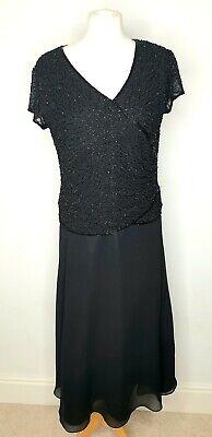 Ladies J Kara New York Black Beaded 20s Style Dress Sz Uk 14 US 10 Occasion Wear
