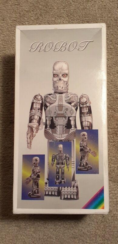 Vintage Skeleton Robot cyborg terminator wind up toy with original box.works