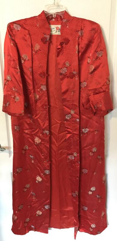 Vtg Women's Kimono Red Oriental Robe Dress Jacket PEONY BRAND SHANGHAI CHINA 38