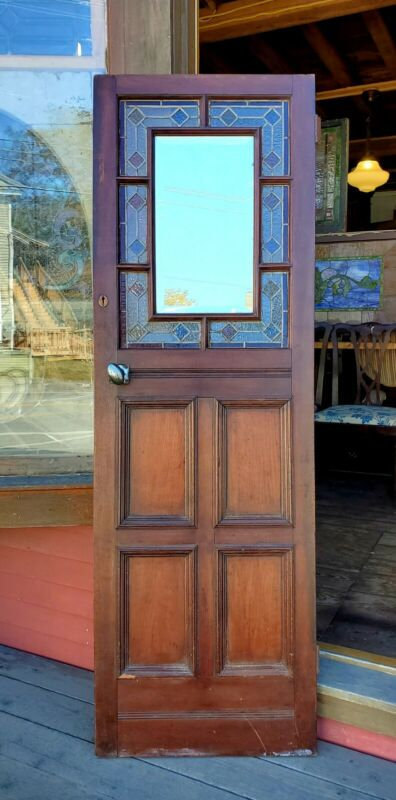 SMALL VICTORIAN ERA DOOR W STAINED GLASS AND BEVELED MIRROR