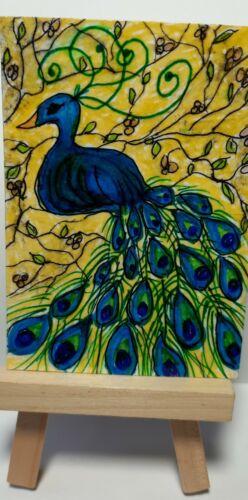 ACEO Art Card Original Acrylic, Botanical, Sign, Dated, Outsider Art, Brut Art - $2.99