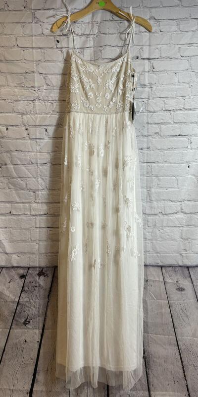 New Bhldn x Adrianna Papell Ivory Beaded tulle Dress sz 6