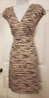 Ann Taylor LOFT Women's Tan Brown Cotton Short Sleeve Animal Print Dress Sz LG