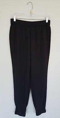 Banana Republic Womens Jogger Pants 4P Petite Black Elastic Waist Pockets Ankle