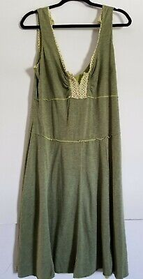 Free People Women's Large Boho Jersey Knit Fit Flair Tier Halter Dress Tea Lngth