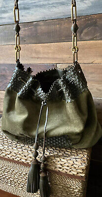 Anya Hindmarch Olive Green Suede Handbag with Woven Leather and Tassels