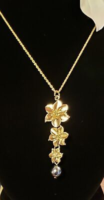 Gold Plumeria Pearl Pendant, Hawaiian Jewelry
