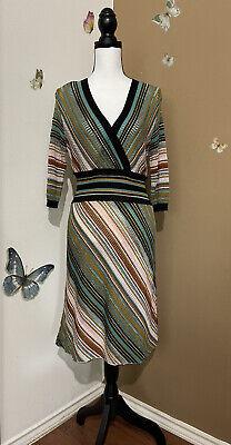 M Missoni Made in Italy Knit Dress Wool Blend Faux Wrap Striped Sz US 10 *READ