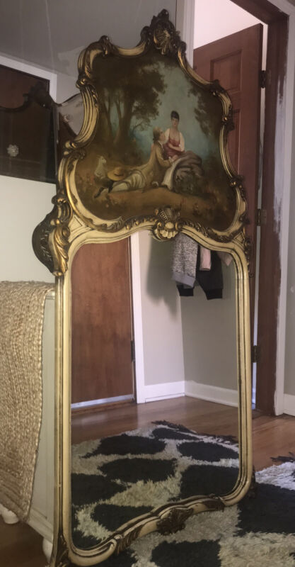 Antique French Trumeau Mirror With Oil Painting Signed Decor