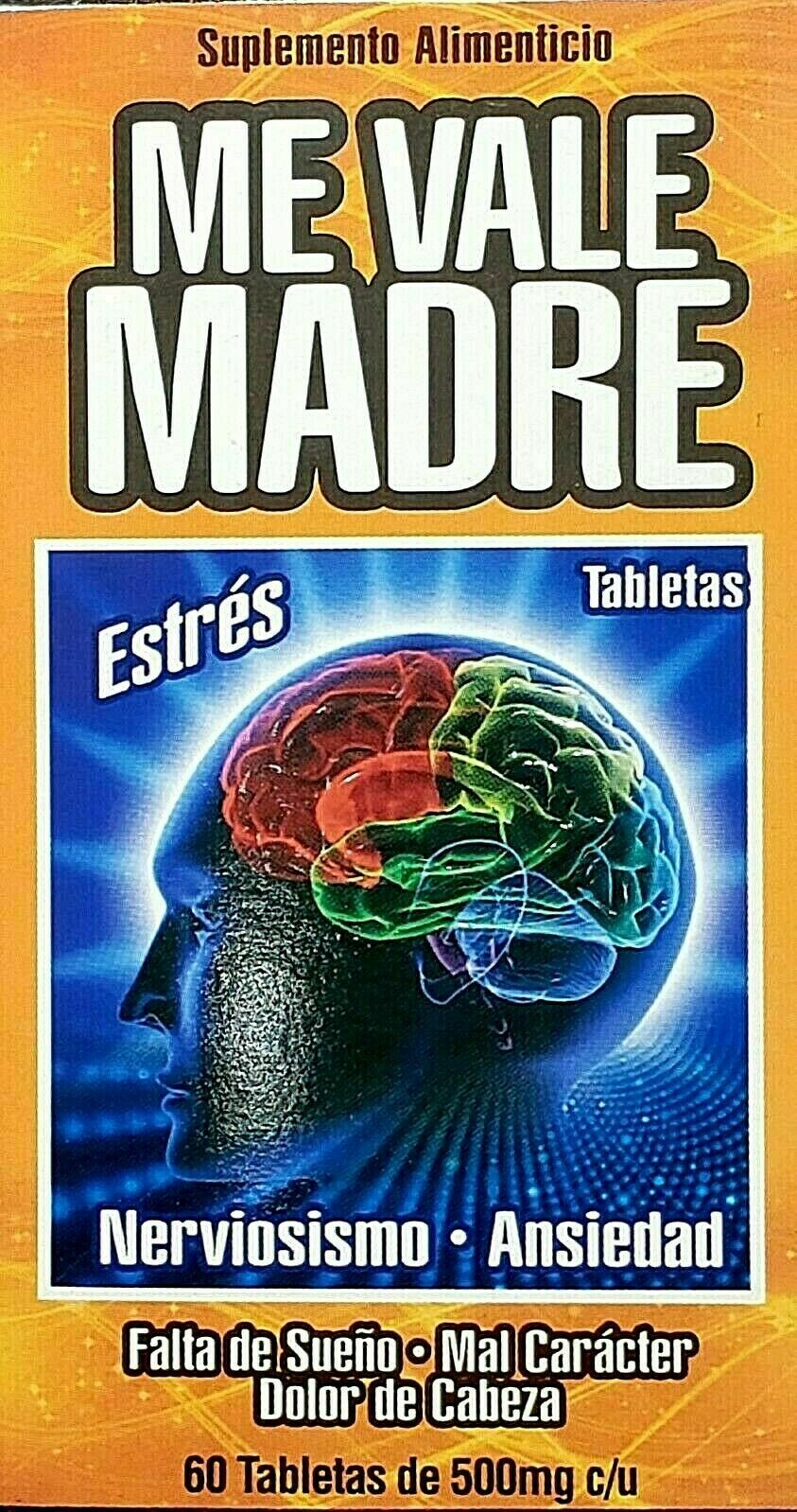 ME VALE MADRE 60 Tablets 500 mg each Support Estres Depresion Ansiedad 7