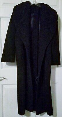 VINTAGE SPIEGEL FULL LENGTH LONG WOOL COAT W/BELT WOMEN'S PETITE SIZE 8 BLACK Long Black Wool Coat
