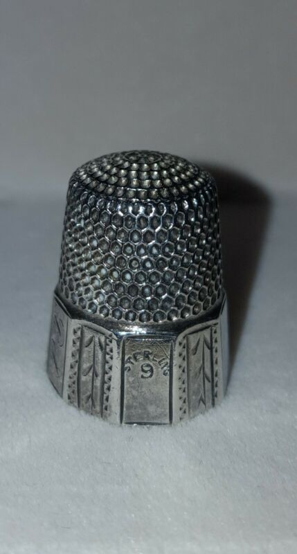 """Vintage Simons Bros. Sterling Silver Thimble  """"Fluted Octagon"""" Design~ SIZE 9"""