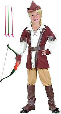 Edles Jäger Waldboy Robin Hood Jungen Kostüm Gr.134/146 + Pfeil- und Bogenset