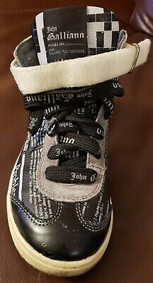 John Galliano Gazzette Newspaper Print Youth/ Kids Unisex Sneakers Size 32