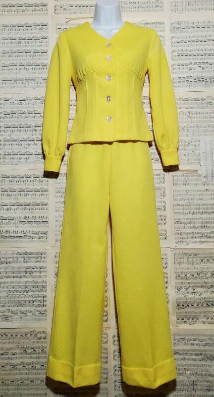 Vintage 1970s 2 pc Lemon Yellow Polyester Pants Suit