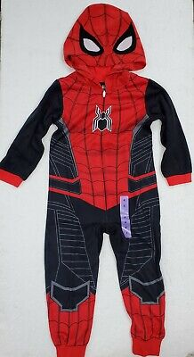 Marvel Spider-Man : Far from Home kids Hooded Blanket Sleeper Fleece Union Suit Spider Man Fleece