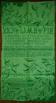 Vintage Key West Hand Print Fabrics Vanda Pell Key Lime Pie Recipe Tea Towel  Lime Tea Recipe