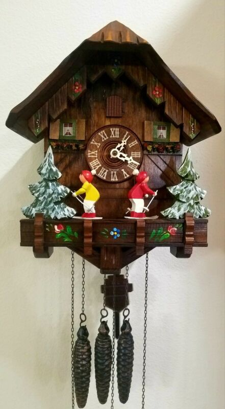 German Black Forest musical animated Alpine Skier Cuckoo Clock Rare Shut Off...