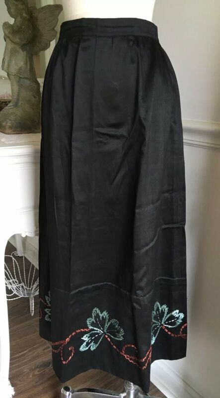 Antique BLACK Cotton SILK Skirt EMBROIDERED Floral Hem HAND MADE Edwardian