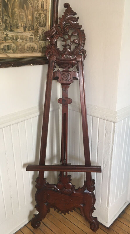 Antique Edwardian era ORNATE ROCOCO CARVED WOOD ARTIST EASEL