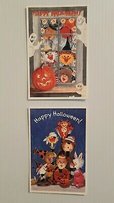 Suzy's Zoo Halloween Postcard critter family Spafford VTG lot of 2