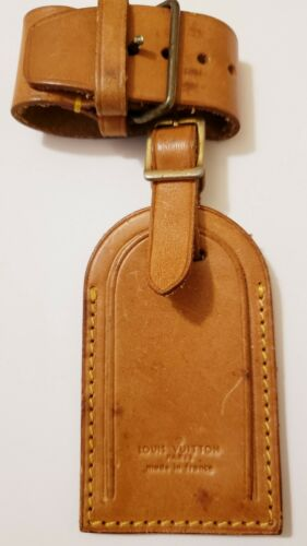 100 Auth Vintage Louis Vuitton Leather Name Tag W/Strap For Keepall Large 0037  - $32.00