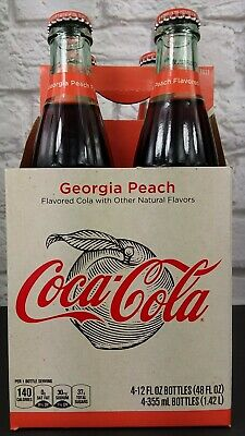 1 FULL * COCA-COLA CLASSIC GEORGIA PEACH 4 PACK 12 OUNCE GLASS BOTTLES