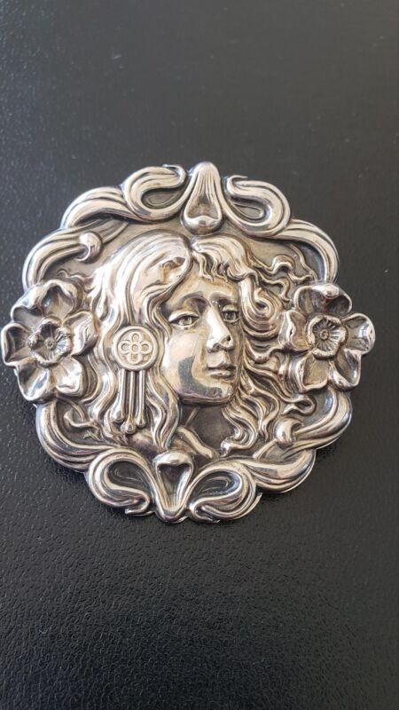 Antique Art Nouveau Sterling Silver Clip, UNIQUE & Beautiful!